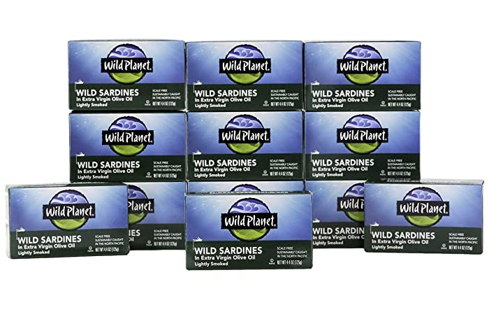Wild Planet Wild Sardines in Extra Virgin Olive Oil, Lightly Smoked, Keto and Paleo, 4.4 Ounce, Pack of 12