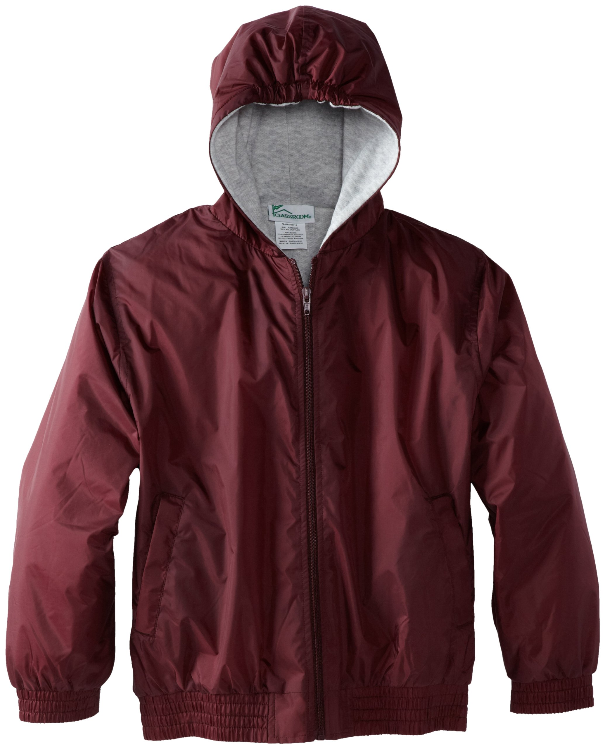 CLASSROOM Big Boys' Uniform Lined Bomber Jacket, Burgundy, Large by Classroom Uniforms (Image #1)