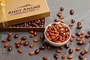 Andy Anand Sugar Free Dark Chocolate California Almonds, Vegan, Delicious, 1 lb Gift Boxed & Greeting Card for Birthday, Valentine Day, Christmas, Holiday Food Gifts, Mothers day, Get Well