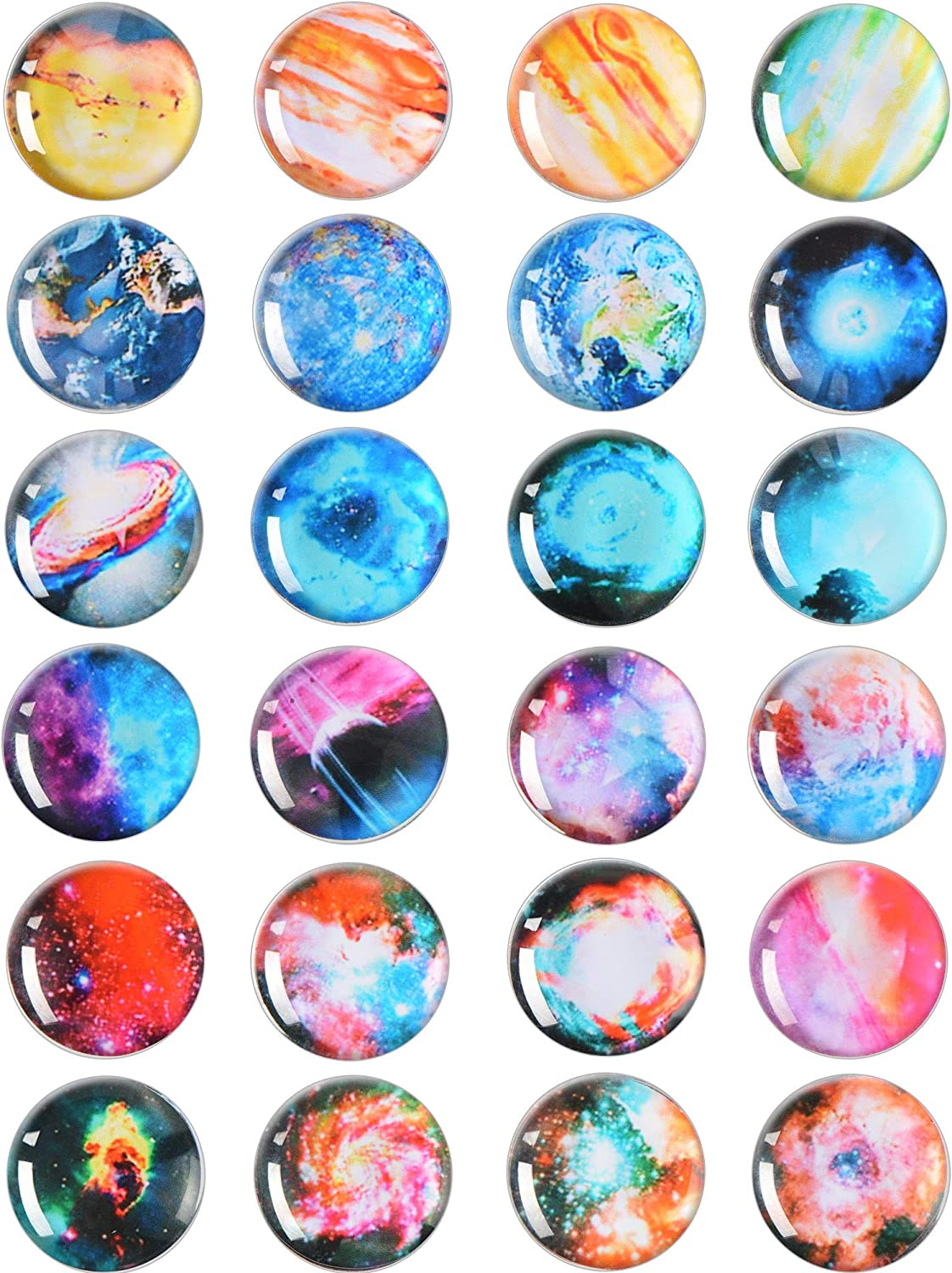 24 Pieces Planet Refrigerator Magnets Glass Starry Sky Fridge Magnets with Storage Box for Kitchen Office Cabinet Whiteboard Photo Paper Message Card Using