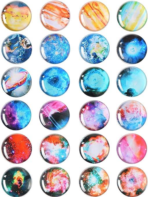 24 unidades imanes de nevera Planet Imán de cristal de Starry Sky ...