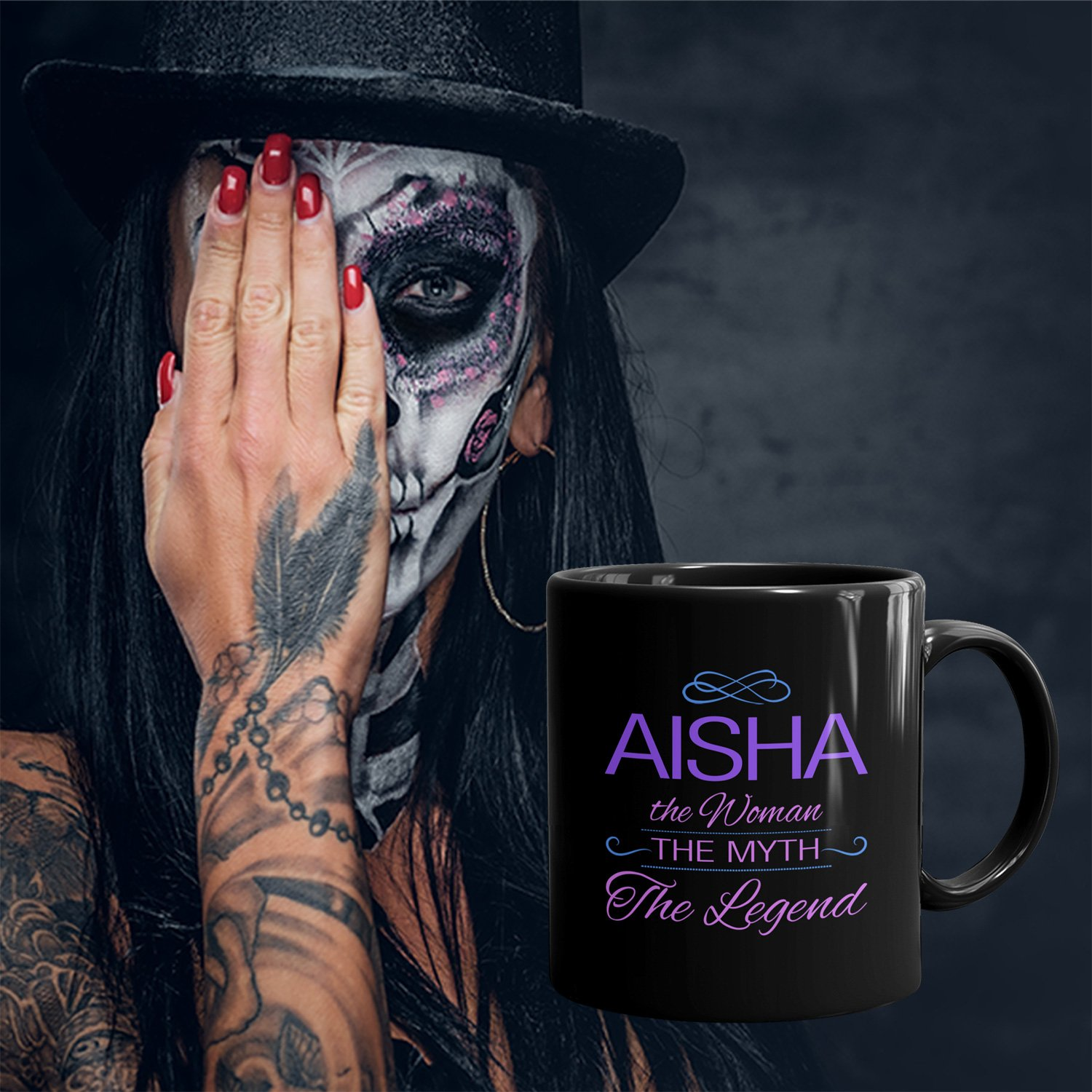 Amazon aisha on mug the woman the myth the legend woman amazon aisha on mug the woman the myth the legend woman gifts for wife mom girlfriend 11oz black mug purple kitchen dining voltagebd Images