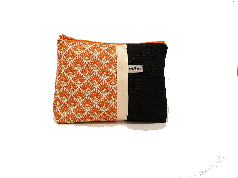 trousse maquillage noir et orange style scandinave , pochette zippée en toile et tissu graphique , fourre tout femme , cadeau pour elle