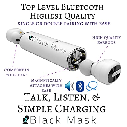 Amazon com: Black Mask Bluetooth Wireless Earbuds Set of 2
