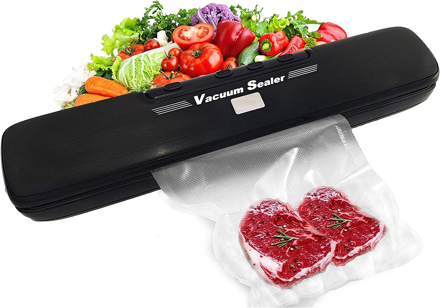 Vacuum Sealer Machine, Multifunction Automatic Air Food Sealing Saver Systerm for Food Preservation Storage with 15 Sealing Bags, Dry and Wet Dual Purpose, 5 Temperature Control Modes, Multi Tire Authentication, Black