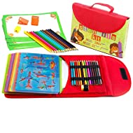Drawing Stencil Kit for Kids Large 54-Piece| Fun Travel Activity Set, Organizer Case with More 280 Shapes, Art Craft Girls and Boys, Creativity Educational Toy Ages 3 to Teen | Excellent Gift for Kid