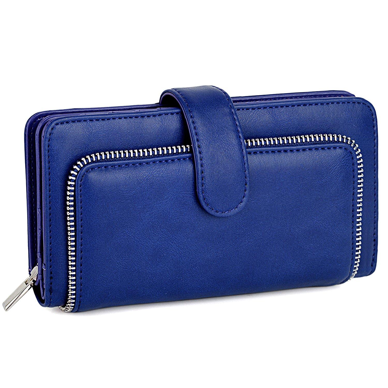 UTO Women PU Leather Wallet RFID Blocking Large Capacity 15 Card Slots Smartphone Holder Snap Closure New Blue
