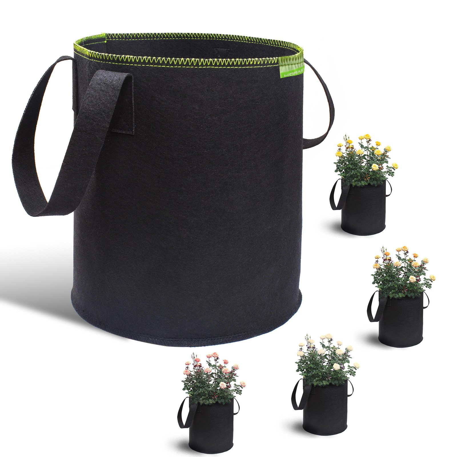 KORAM 5-Pack 8 Gallon Garden Grow Bags Soft-Sided Fabric Plant Pots Aeration Quality Planting Container with Handles for Growing Trees, Plants, Flowers, Vegetables, Tomatoes
