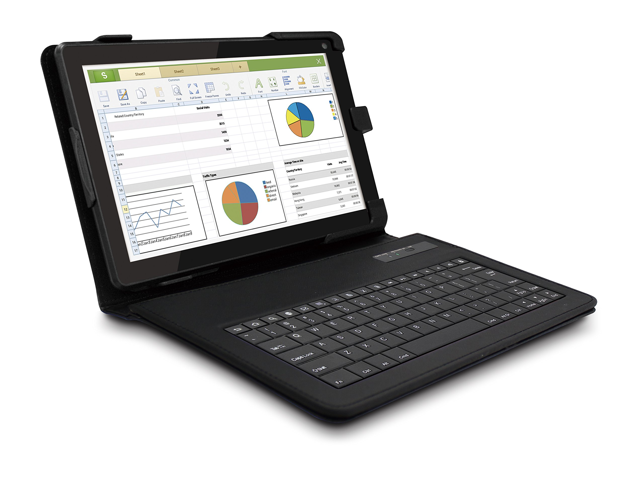 RCA RCT6103W46H 10-inch Quad Core Android Tablet With Keyboard Folio Case