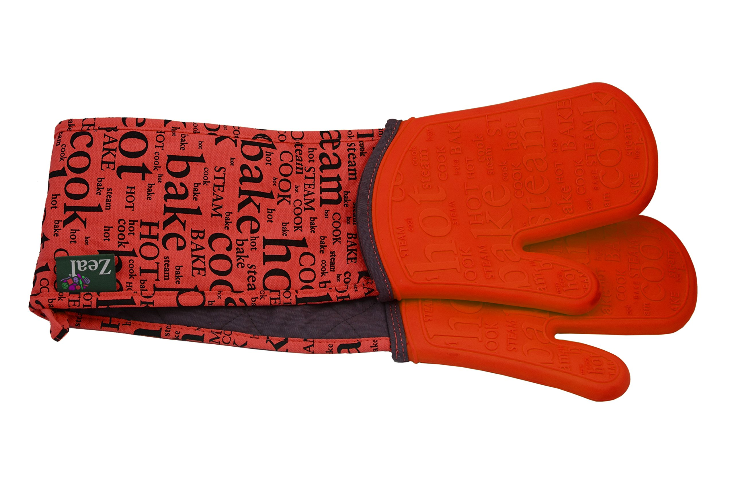 ZEAL Double Steam Stop Waterproof Silicone Oven Glove (Red)