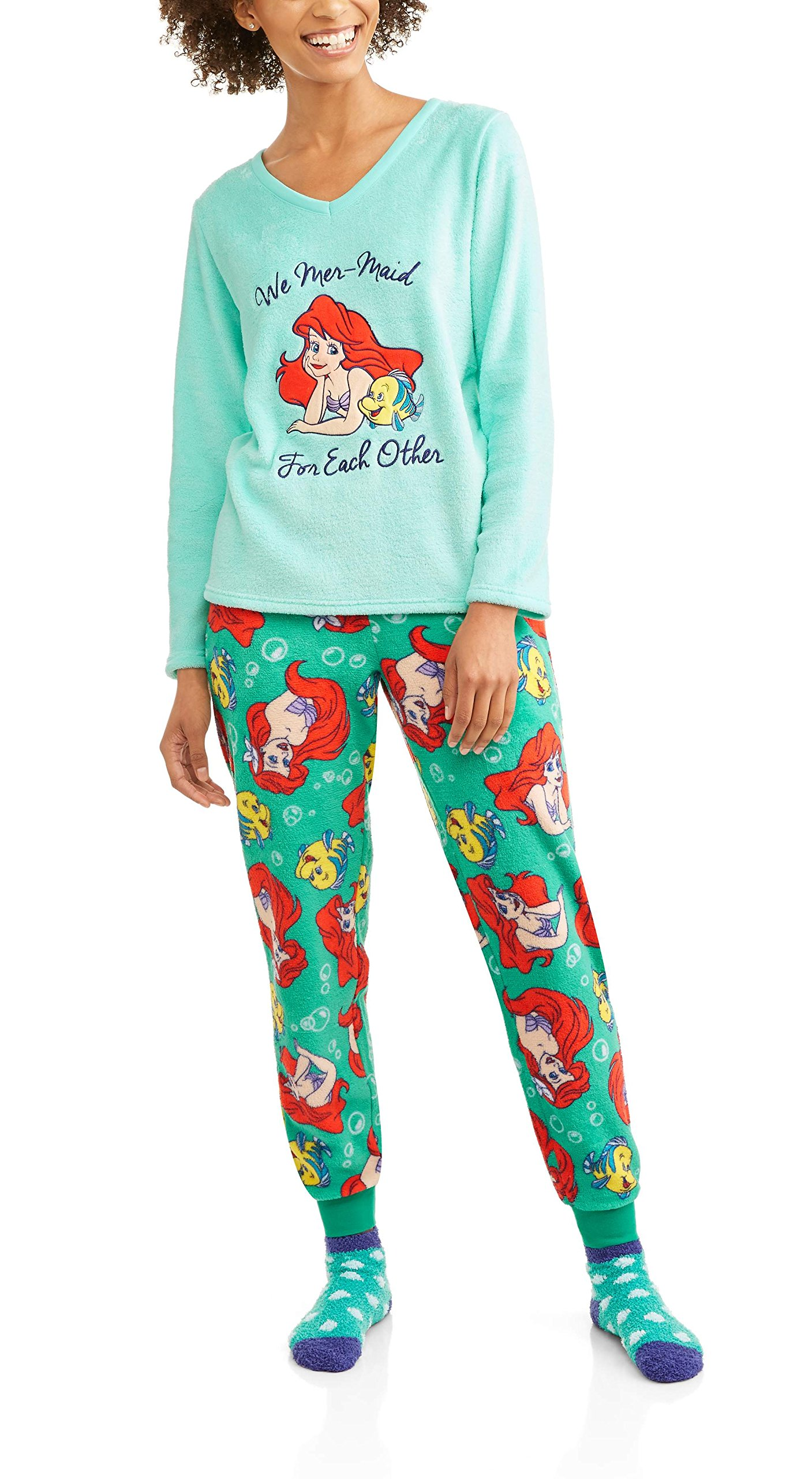 Disney Women's License Pajama Plush Fleece Sleep Top and Pant 3 Piece Giftable Sleepwear Set (The Little Mermaid, Small)