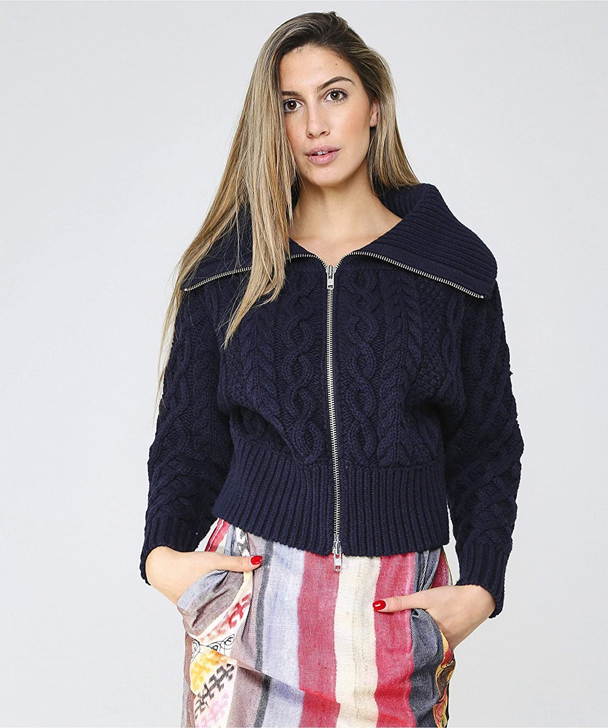 Self Portrait Womens Cropped Cable Knit Cardigan Navy