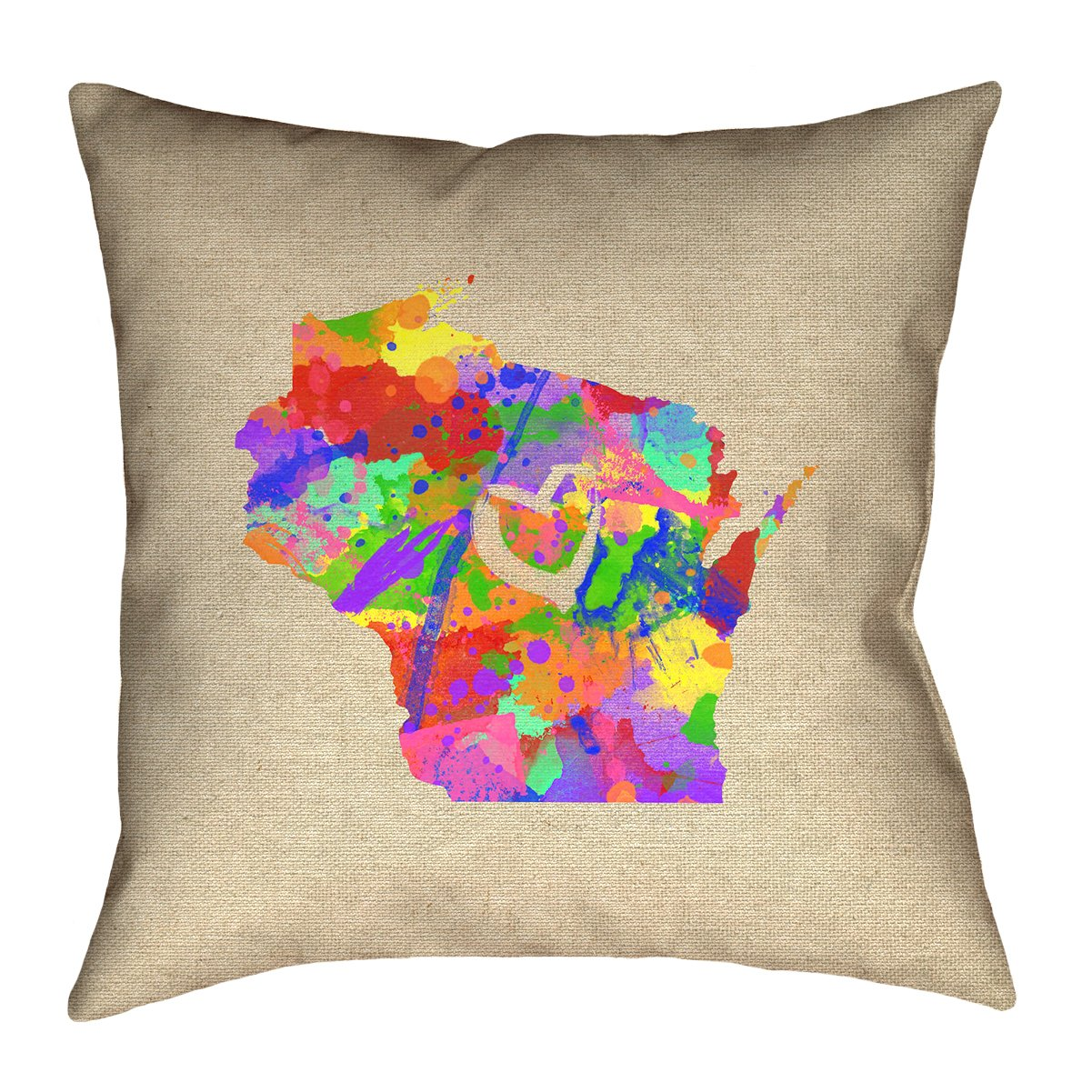 ArtVerse Katelyn Smith 40' x 40' Floor Double Sided Print with Concealed Zipper & Insert Wisconsin Love Watercolor Pillow SMI438F4040L