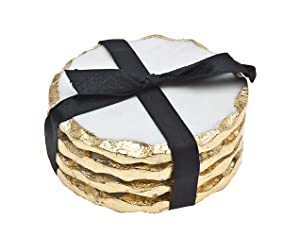 Godinger Silver Art Round Coasters Gold Edge Set of 4
