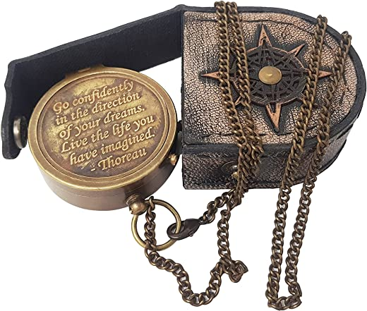 Hanzla Collection - Brass Compass Engraved with Thoreau's Go Confidently Quote and Stamped Leather Case, Boys Gifts