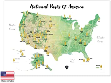 Massive Wanderlust Scratch-Off Your National Parks of America - 100% Made  in USA - Large Size 17x23.5 - Gold Scratchable - with Pick and Unique Gift  ...