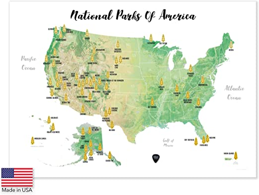 Massive Wanderlust Scratch-Off Your National Parks of America - 100% Made  in USA - Large Size 24Wx17H - Gold Scratchable - with Pick and Unique Gift  ...