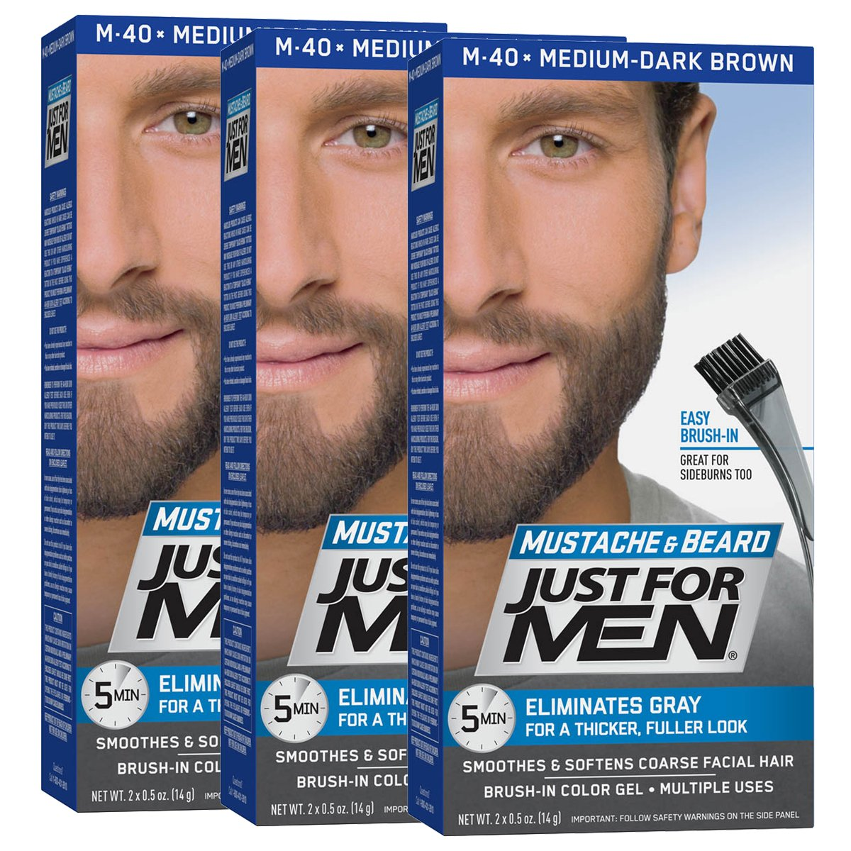 Just For Men Mustache and Beard Brush-In Color Gel, Medium Dark Brown (Pack of 3) 011509049117