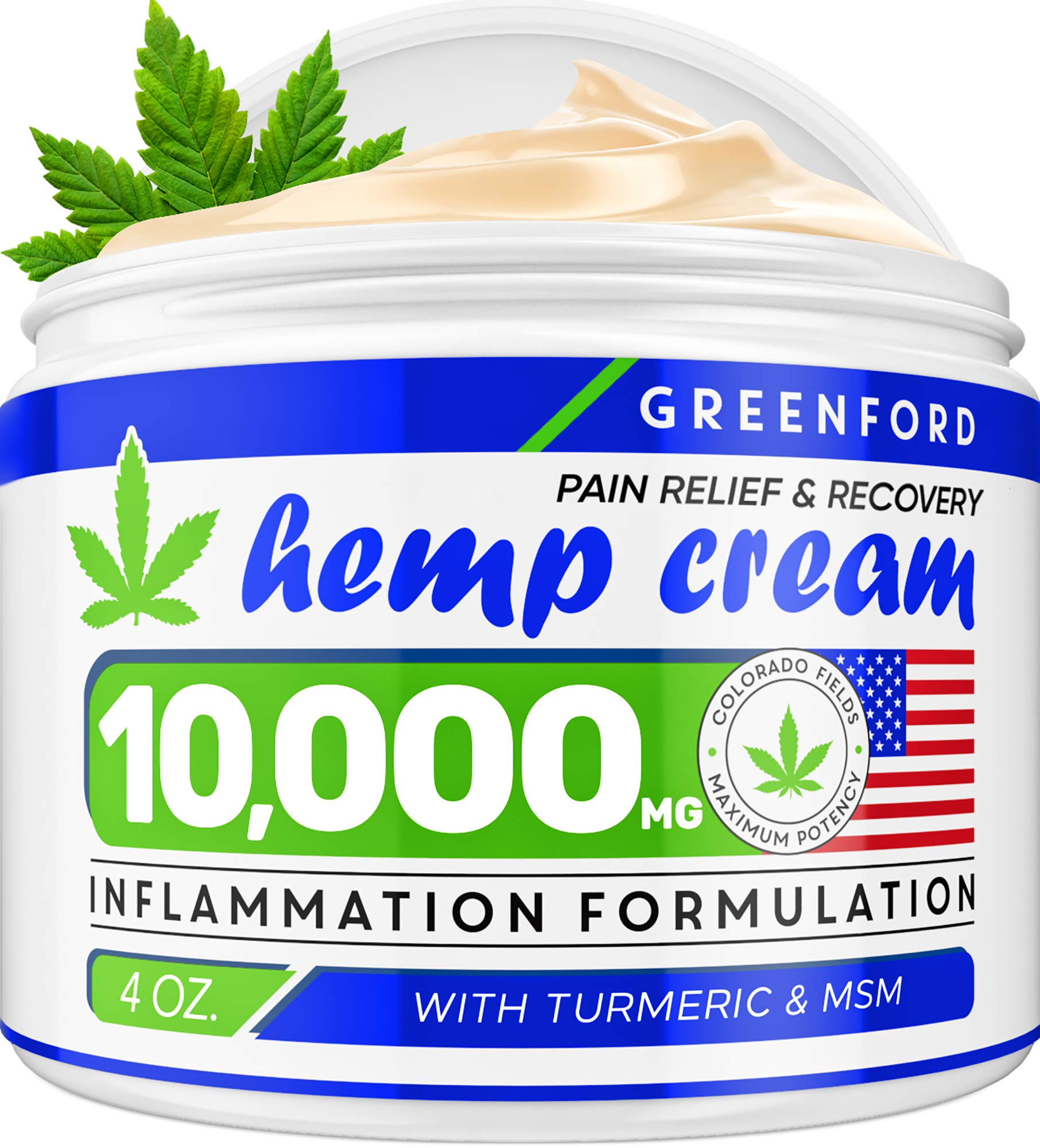 Pain Relief Hemp Cream 10,000mg | 4oz - Hemp Extract Cream for Inflammation & Sore Muscles - Natural Joint, Arthritis & Back Pain Support - Made in USA - Arnica, MSM, Turmeric - Best for Skin Health by Greenford