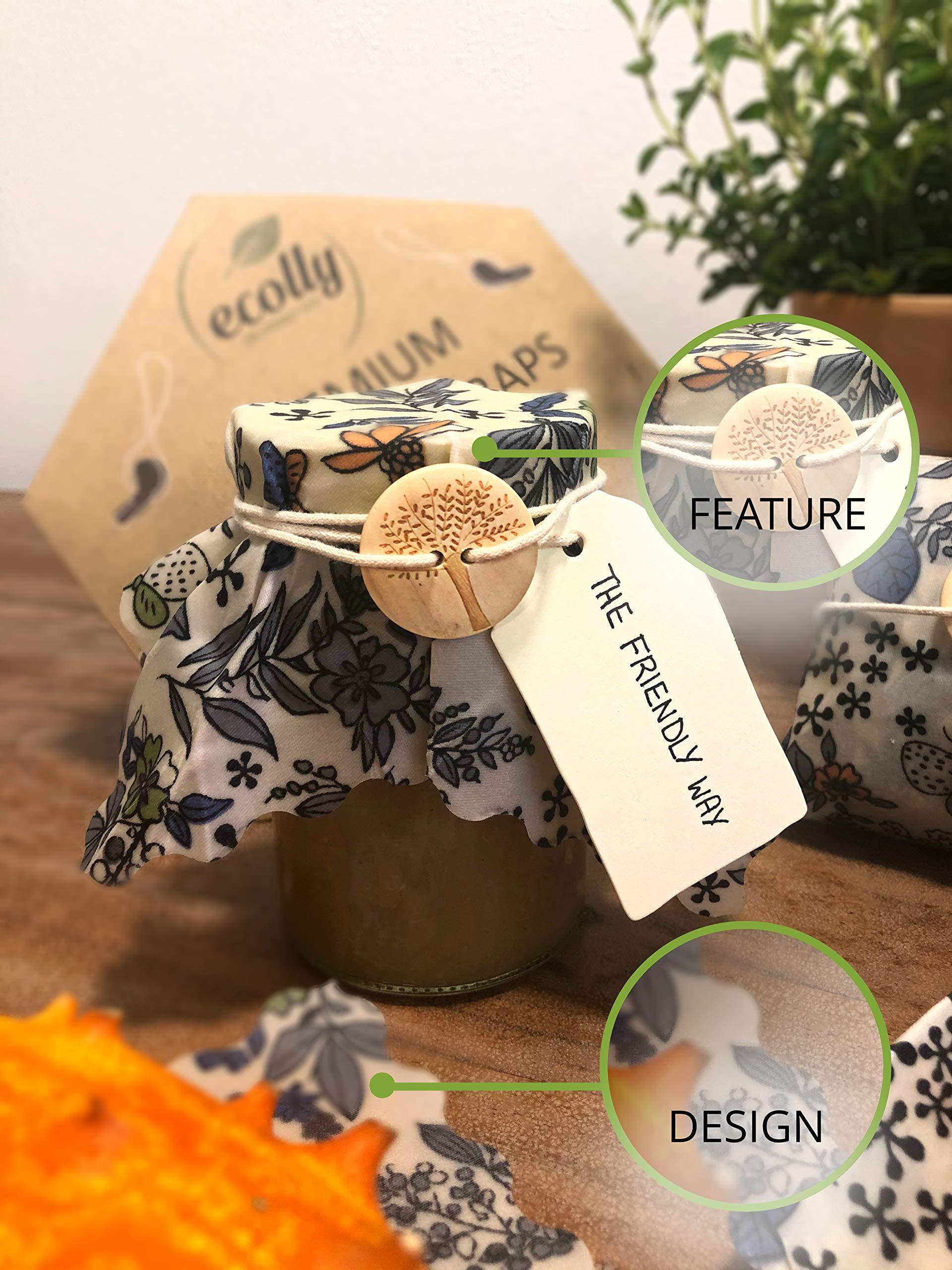 Ecolly® Lingettes à la Cire d\'abeille I Papier à la Cire d\'abeille I Premium Wax Wraps Wraps I sans Plastique et réutilisables I Lot de 3 (S, M, L)