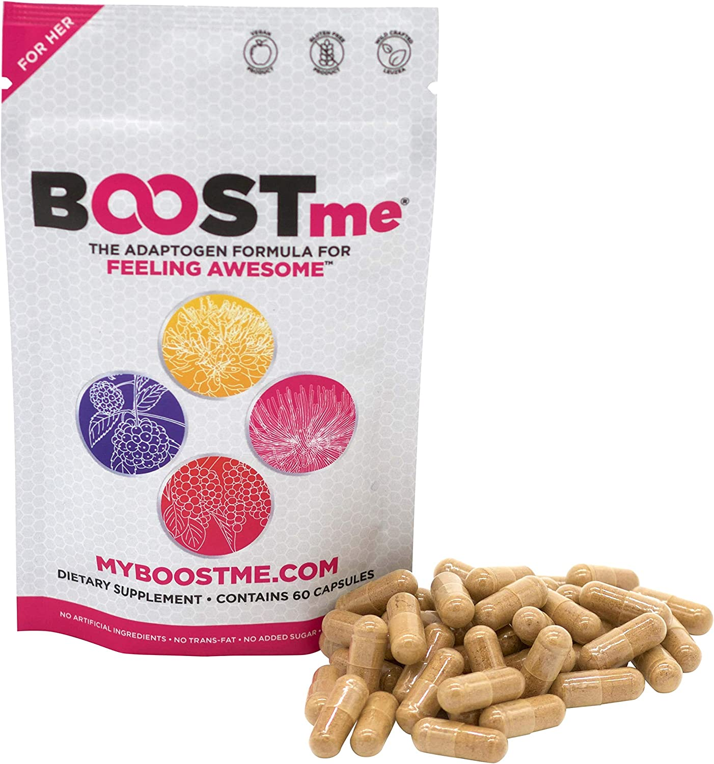 BOOSTme Daily Adaptogen Supplement: Menopause Manager - Stress and Anxiety Relief - Sleep Aid - Hormone Balance for Women - Thyroid and Adrenal Support - 60 Capsules