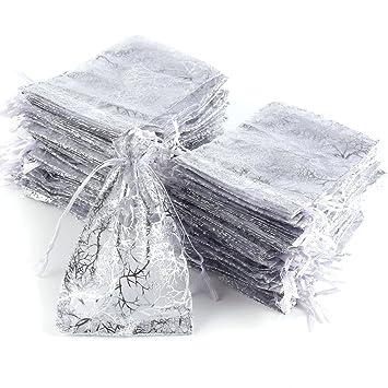 100 X Organzabeutel Schmuckbeutel Säckchen Beutel weiß