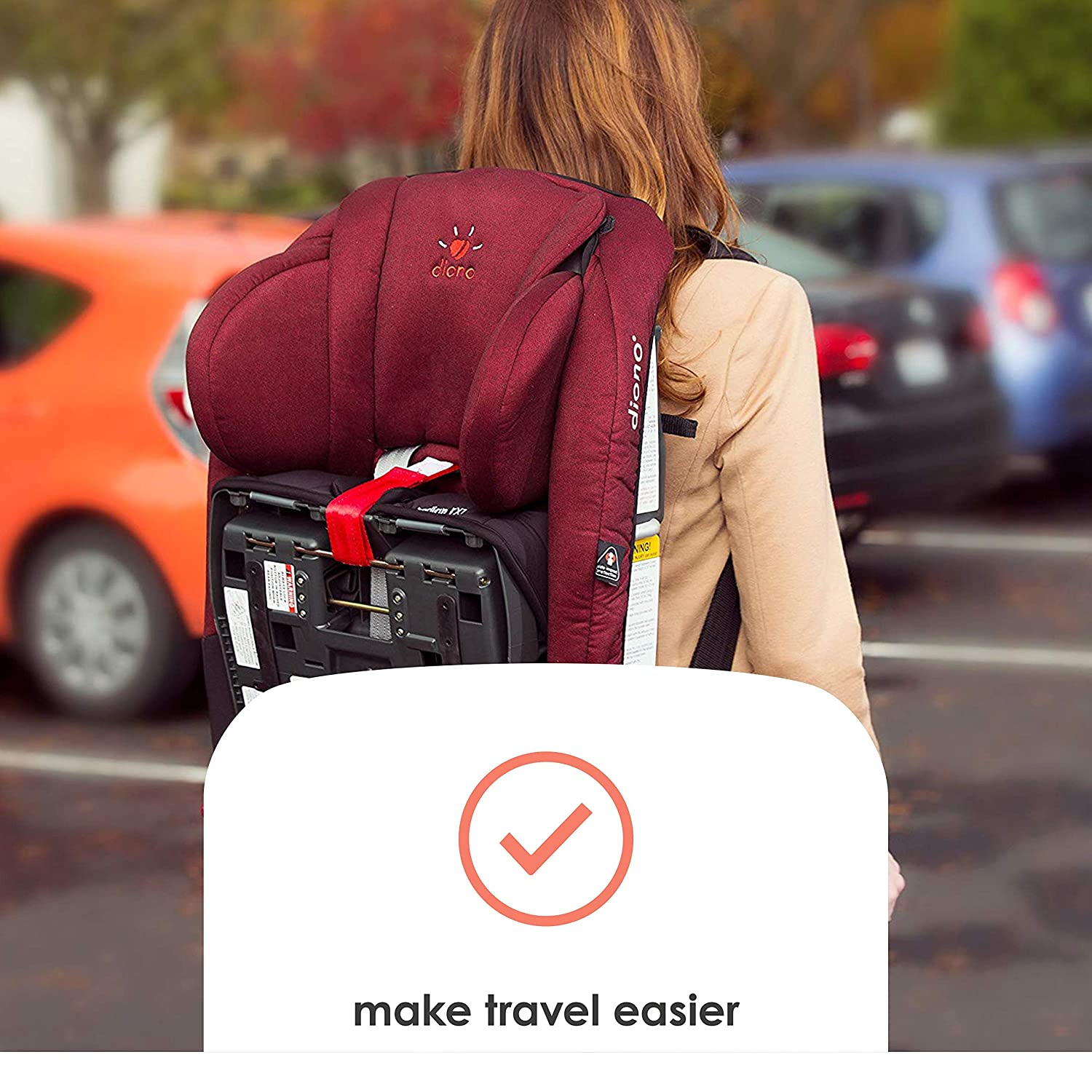 Black Easy to Attach Durable Strong Diono Radian Carry Strap Adjustable Straps with Comfort Pads to Transport Diono Convertible Car Seats