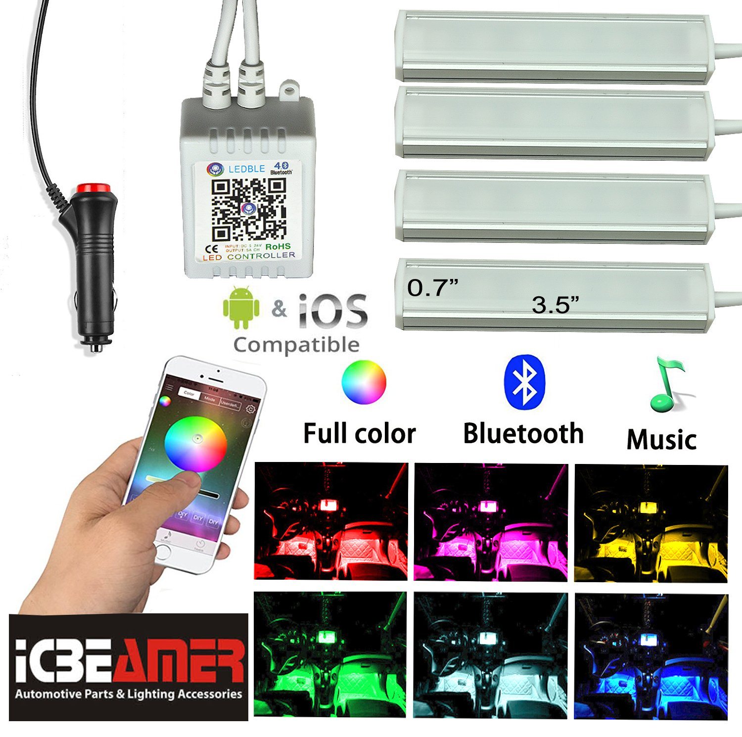 ICBEAMER Interior Smart Phone App Control Color Floor Matt COB LED Light Bulbs Strip Sound Active Function Atmosphere
