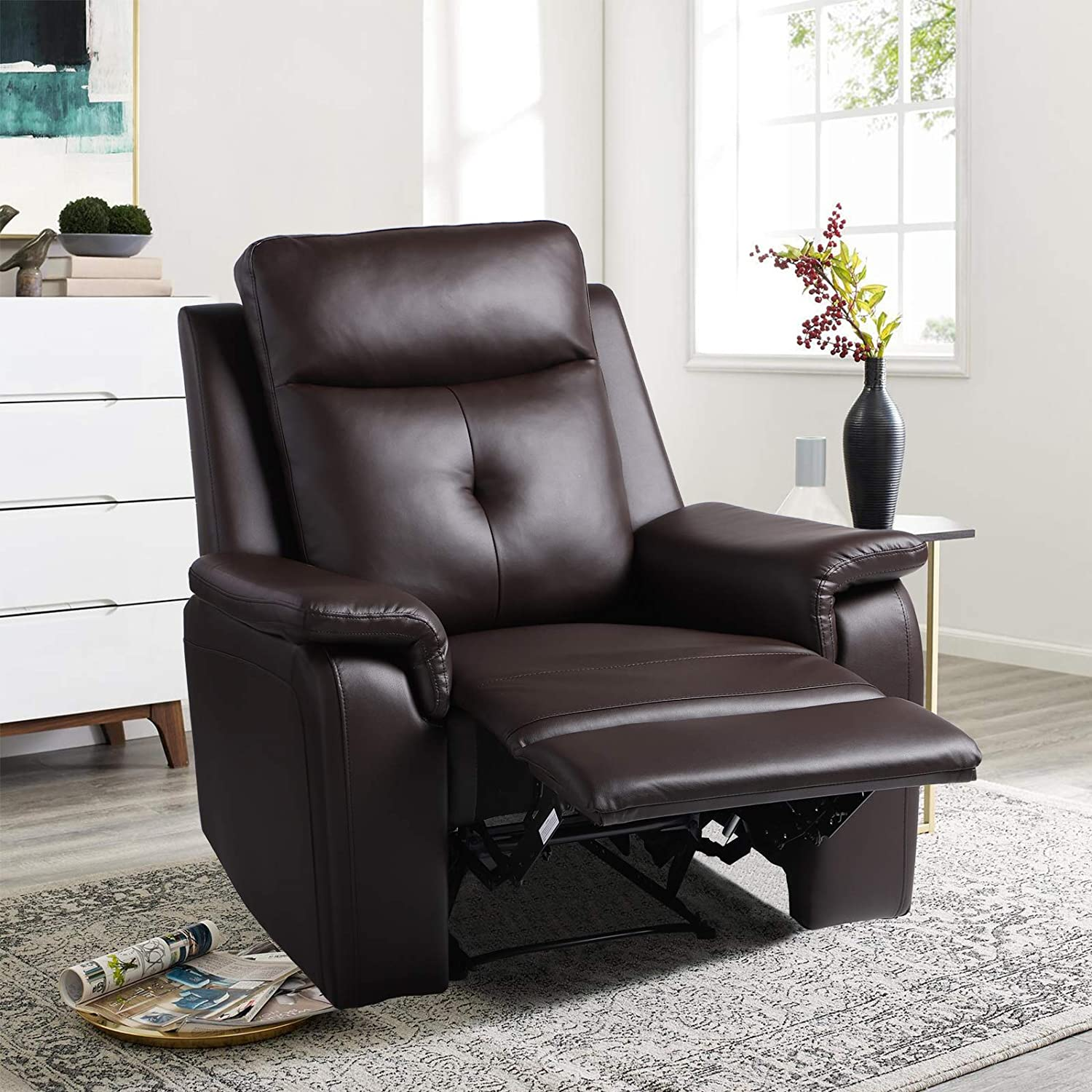 Manual Recliner Chair - Modern PU Leather Reclining Single Sofa - Ergonomic Design Home Theater Seating for Living Room, Bedroom, Home, Office (B:Brown)