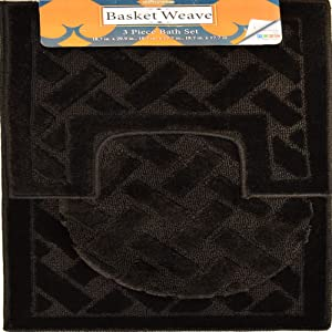 Home Dynamix Basketweave Orchard Bath Mat Set, Black