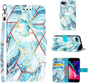 Compatible for iPhone SE 2020 Wallet Case,iPhone 8 Case/iPhone 7 Case,iPhone 6/6S Case,[Wrist Strap][Credit Cards Slots] 2021 New Marble Pattern PU Leather Stand Flip Cover (Blue)