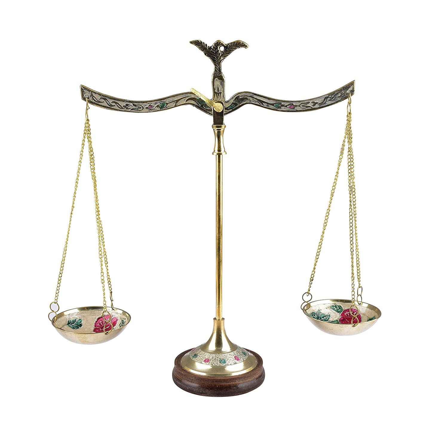 diollo Apothecary ScaleVintage Metal Weight Scale Home Décor Antique Weight Balancing Scale Taraju, Height 12 Inch, Golden