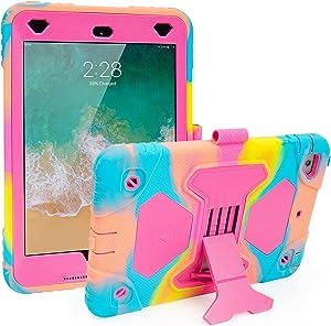 iPad Mini 4 Case, iPad Mini 5 Case, iPad 7.9 inch Case, Shockproof Protective iPad Mini Case for Kids, with Pencil Holder & Multi-Angle Adjustable Bracket (2021 New,Icecream/Pink)
