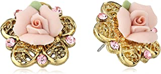 product image for 1928 Jewelry Porcelain Rose Gold-Tone and Pink Stud Earrings