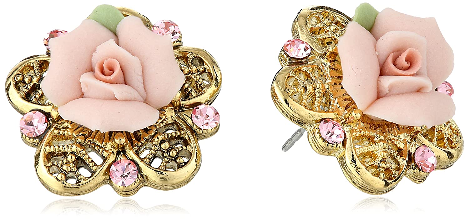 Amazoncom 1928 Jewelry Porcelain Rose GoldTone and Pink Stud