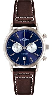dcda5690cb5c Rotary Men s Quartz Watch with Blue Dial Chronograph Display and Brown Leather  Strap GS02730 05