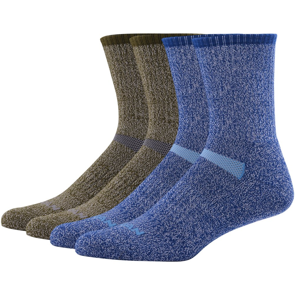 MK MEIKAN Merino Wool Hiking Socks, Medium Crew Moisture Wicking Trekking Liner Socks for Men 4 Pairs, 2 Navy Blue, 2 Army Green by MK MEIKAN
