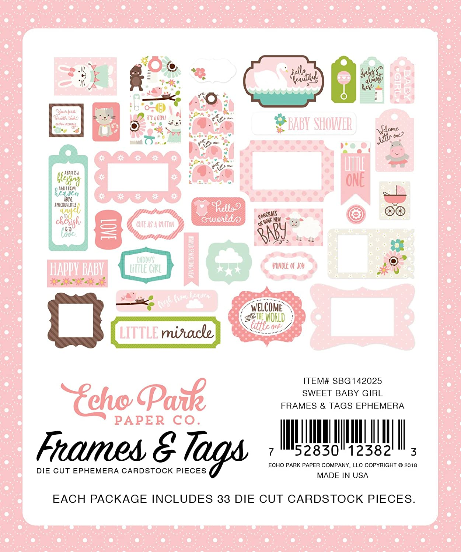 Echo Park Paper Company Sweet Baby Girl Rahmen und Tags
