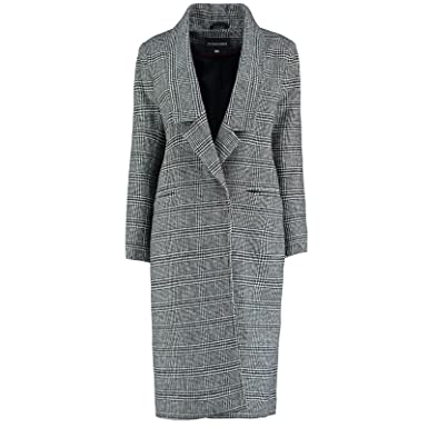 De La Creme Prince Wales Karo Damen Winter Wolle Langer Mantel Schwarz   Amazon.de  Bekleidung 0a7ee896e0
