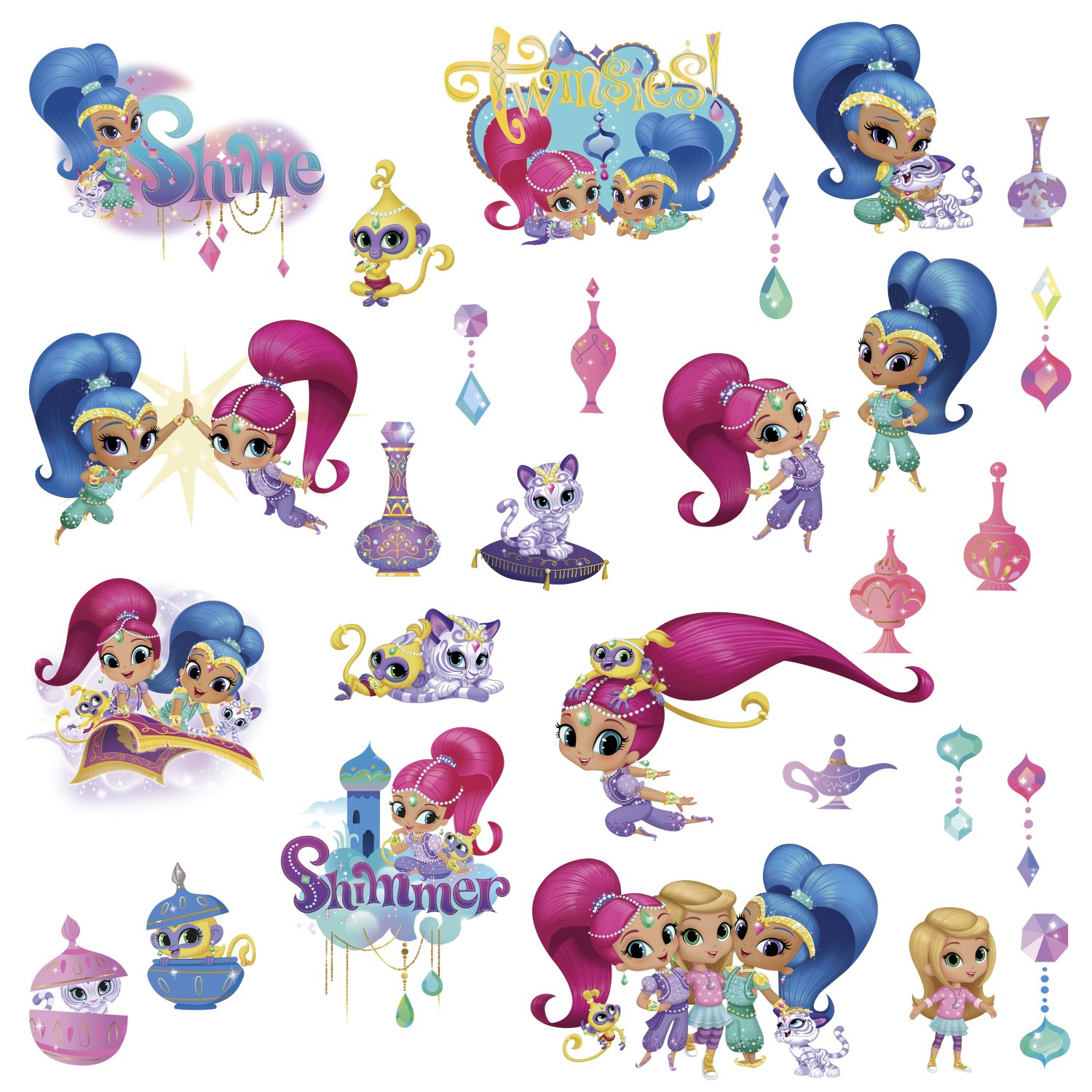 Roommates Shimmer Shine Peel Stick Wall Decals