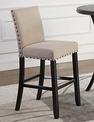 Roundhill Furniture Biony Fabric Bar Stools with Nailhead Trim Set of 2 , Tan