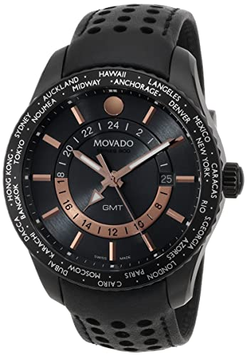Movado Men s 2600118 Series 800 Black PVD Case with Black Leather Band