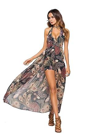 44e1749274dd Womens Chiffon Halter Backless Boho Floral Maxi Romper Dress Summer Beach Jumpsuit  Dress Split Front (