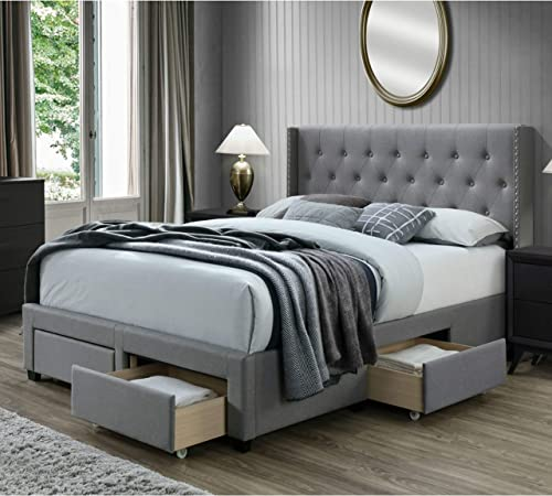 Best modern headboard: DG Casa Bardy Diamond Tufted Upholstered Panel Bed Frame