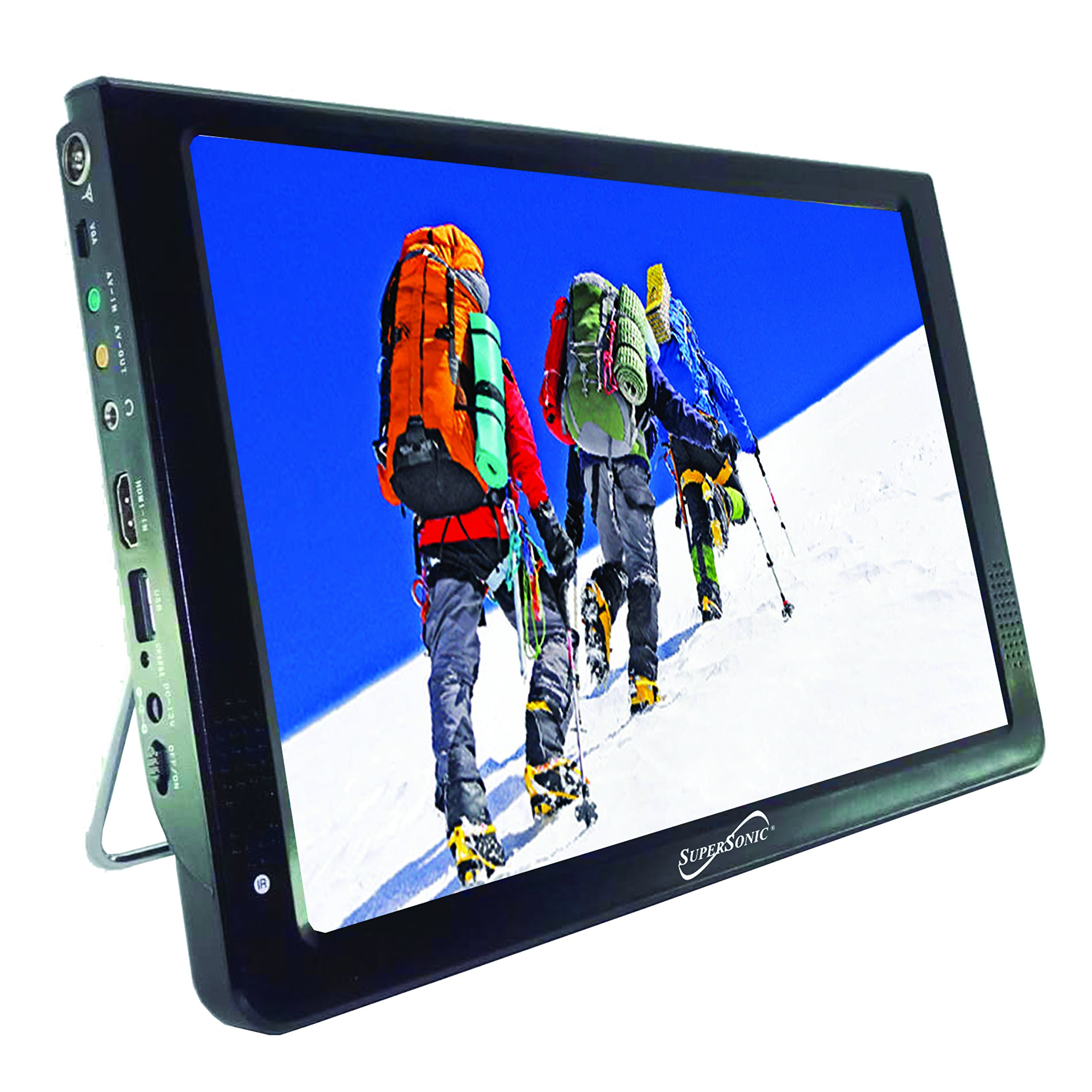 SuperSonic SC-2812 Portable Digital LED TV 12'' with USB, SD Reader, HDMI, and AC/DC Input: Built-in Lithium Ion Battery, AUX Input and Speakers