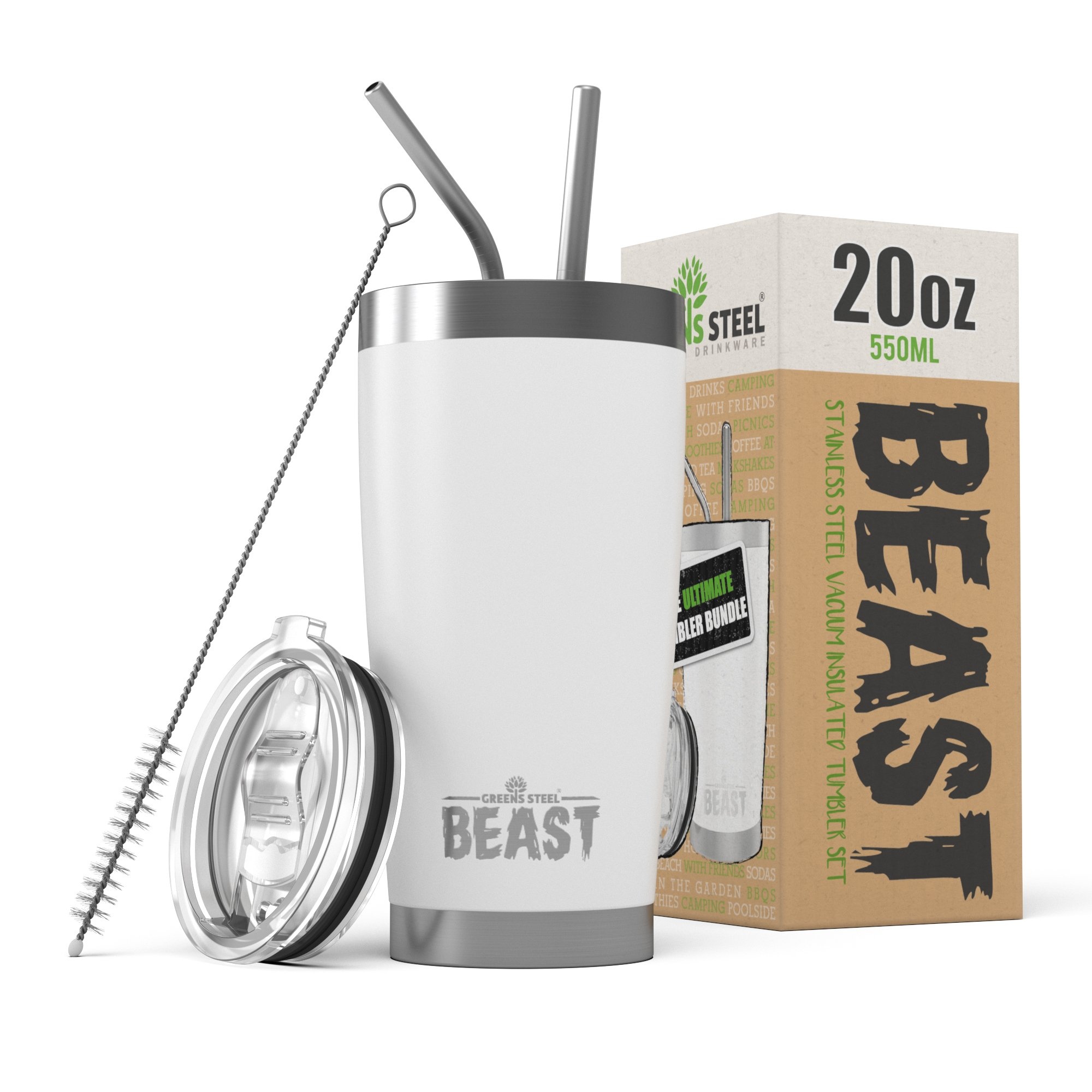 BEAST 20oz Insulated Reusable Tumbler - BPA Free Stainless Steel Coffee Cup with Lid, 2 Straws, Brush & Gift Box (