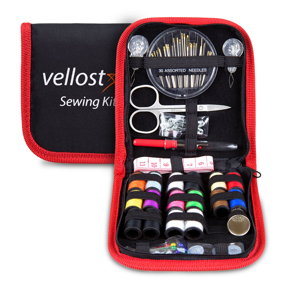 Sewing KIT, Tackle Any Fashion Emergency - Clothing Repairs at Home & in The Office. Highly-Rated Mini Sew Kit for Travel Trips. Mending Supplies & Accessories (Black&Red-Trim, Pack of 1) Vellostar 4337011056