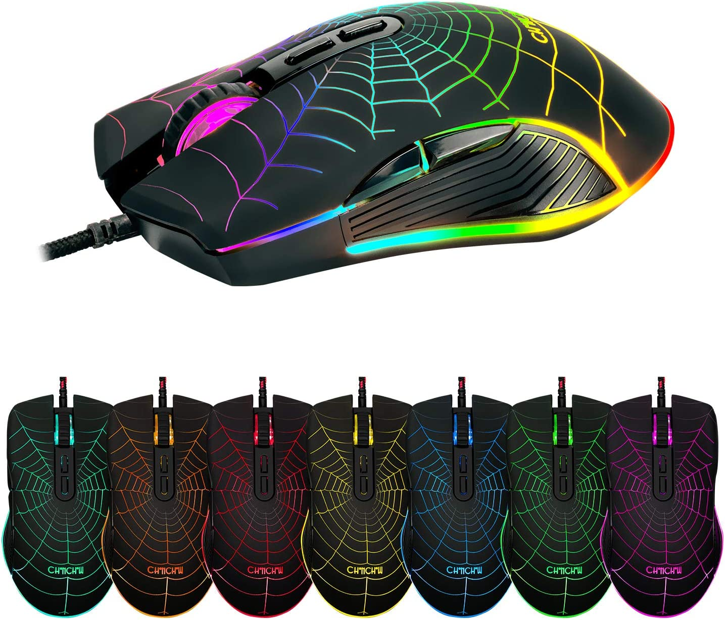 CHONCHOW Wired RGB Gaming Mouse,USB Computer Mice with LED Backlit 4 Adjustable DPI up to 7200, Ergonomic Gaming Mouse with 6 Programmable Buttons Compatible with PS4 Xbox one Mac PC Computer Notebook