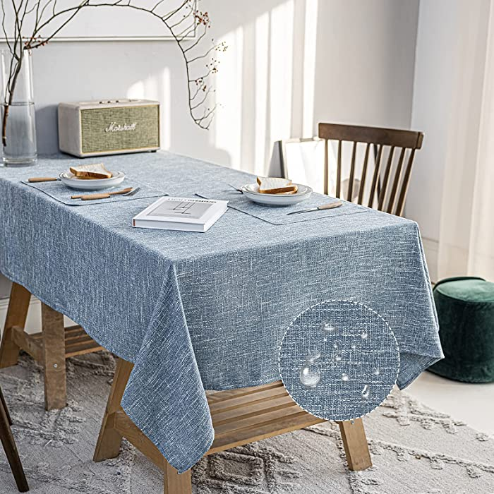 JSFLY Water Resistant Cotton Linen Tablecloths Rectangle Dining Table Cloth, Wipe Clean Indoor & Outdoor Table Cover for Buffet Party and Banquets, Free 2 Table Mats(54