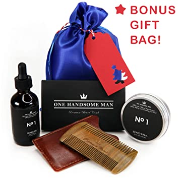 2b298f3ce175 Beard Care Gift Set for Men by One Handsome Man - Beard Grooming Kit  Includes Beard